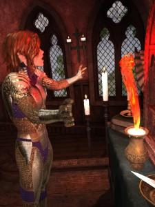 An elven wizard summons a fire elemental