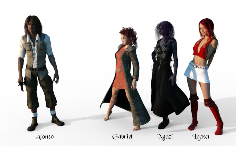 Alonso, the original viewpoint character, with the three new ones, Gabriel, Ngozi and Locket